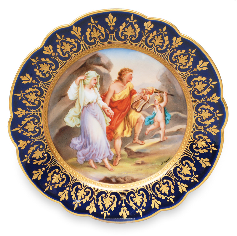 "A portrait plate ""Orpheus und Eurydike"" in the style of Vienna"