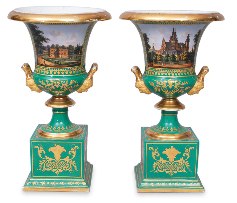A pair of green vases with views of danish castles