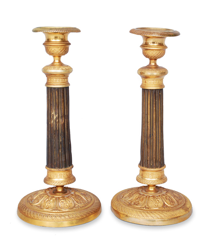 A pair of Empire candle holders