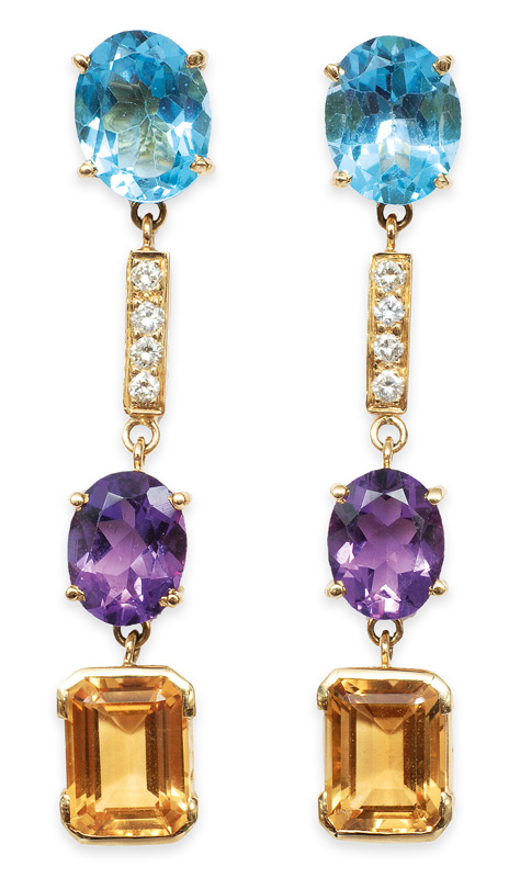 A pair of amethyst citrine topaz earpendants with diamonds