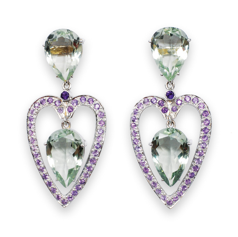 A pair of heartshaped amethyst earpendants