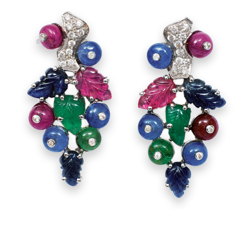 A pair of sapphire ruby emerald earrings with diamonds