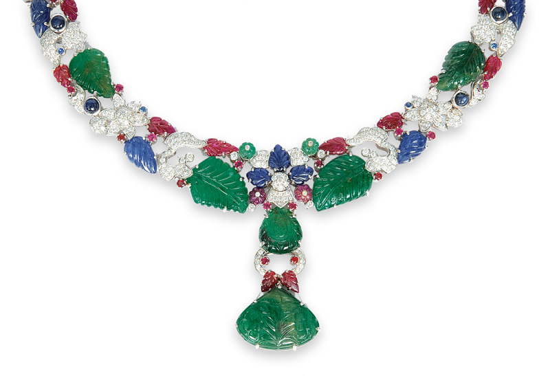 A rare sapphire, ruby and emerald necklace with diamonds