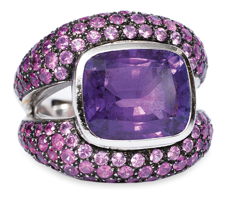 A large modern amethyst ring