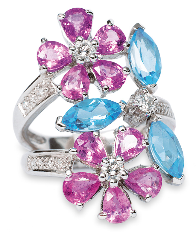 A flowershaped ring sapphires, topazes and diamonds
