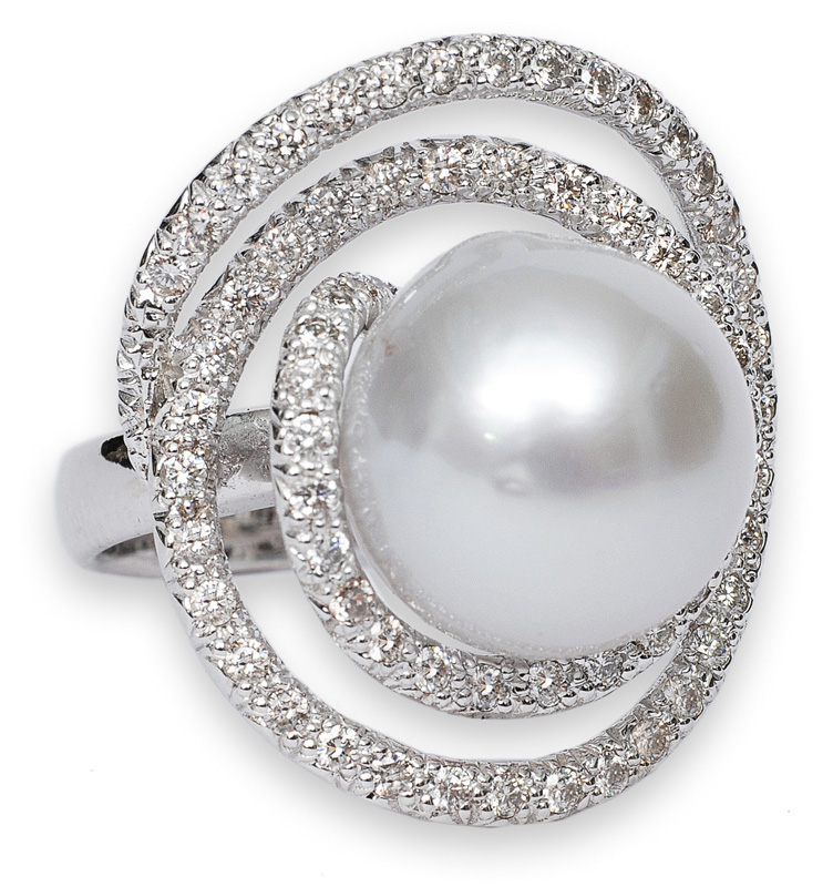 A large Southsea pearl diamond ring