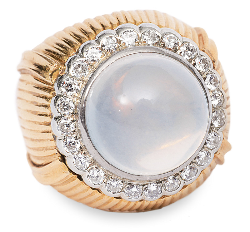 A moonstone diamond ring