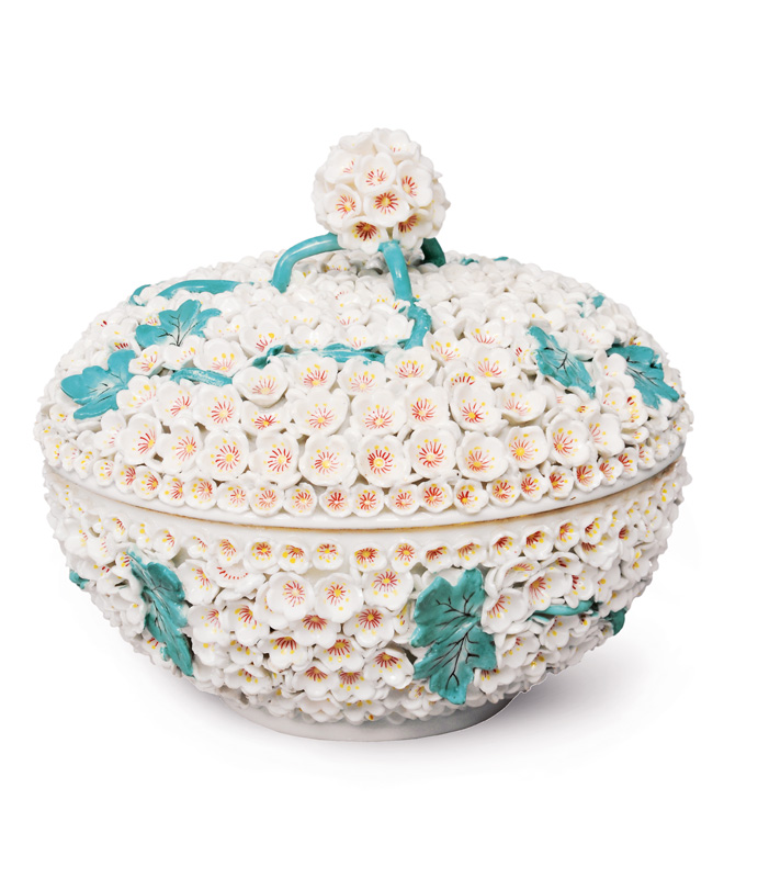 An exceptional snowball-tureen with equestrian scenes