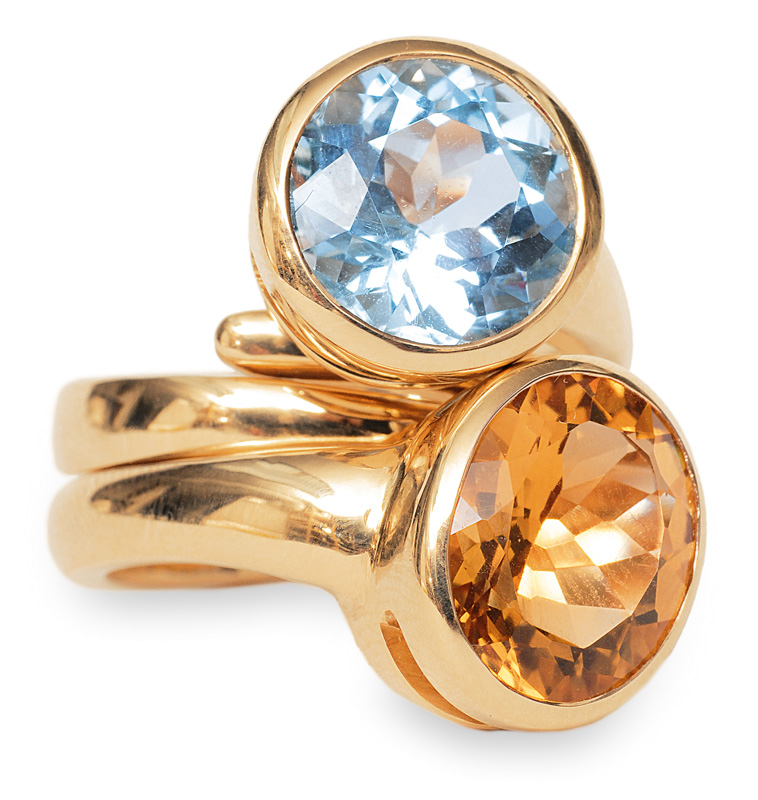 A pair of rings with topaz and citrine