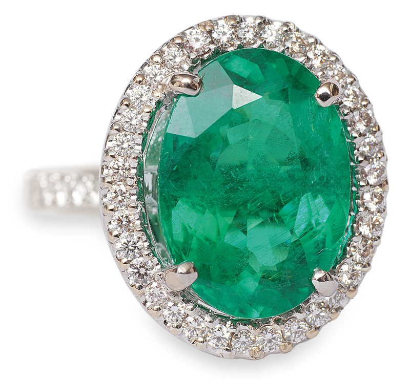 A high-value emerald diamond ring