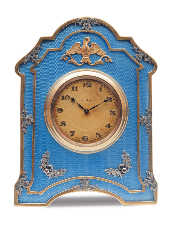 A rare russian enamel table clock with diamonds