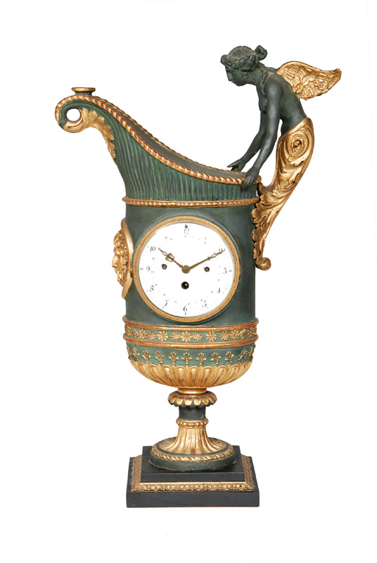 A Napoleon-III mantel clock with plastical figure of a nike