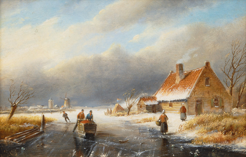 Dutch Landscape with a frozen Canal