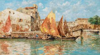 Boats on the Rio Pallada in Venice