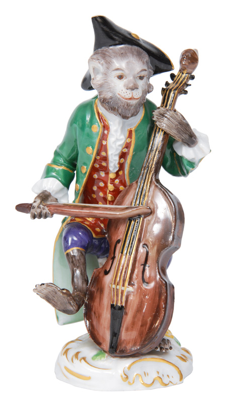 "A figurine of ""Contrabass player"" of serial ""Music playing monkeys"""
