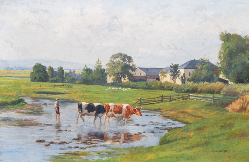 Cows and Herder at the Ford