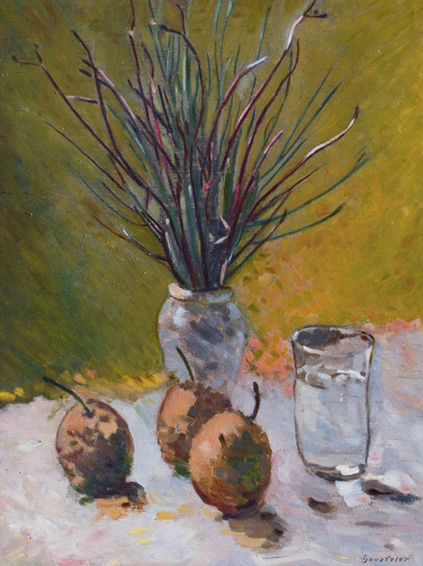 Still Life with Peaches and Twigs in a Vase