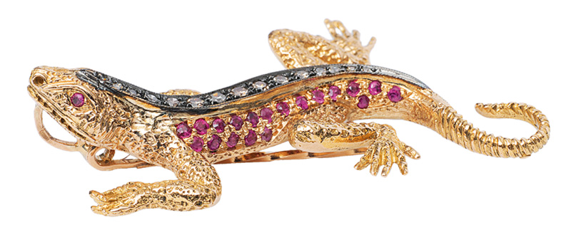 "A ruby diamond brooch ""Salamander"""
