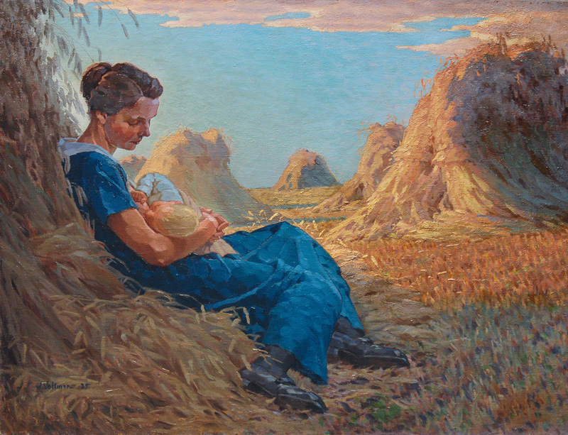 Mother with her suckling in a Grainfield