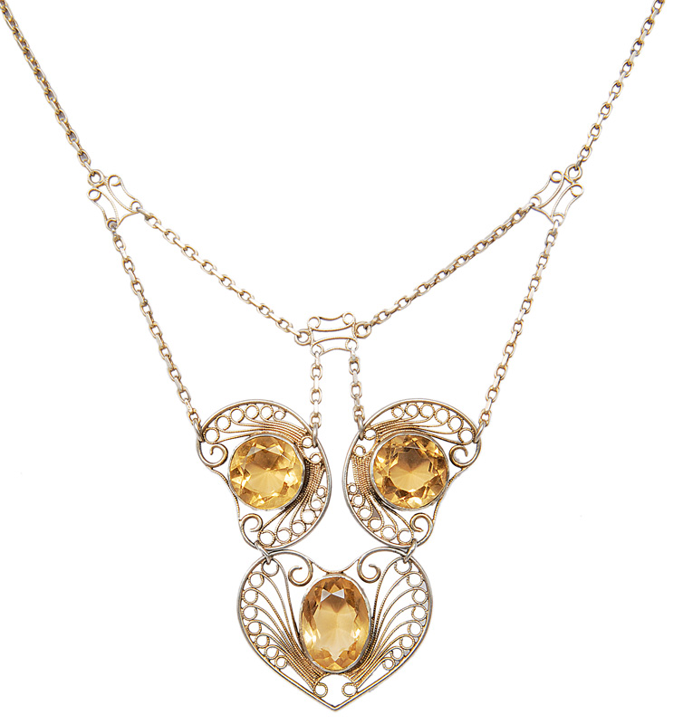 A filigree citrine necklace in the style of Theodor Fahrner