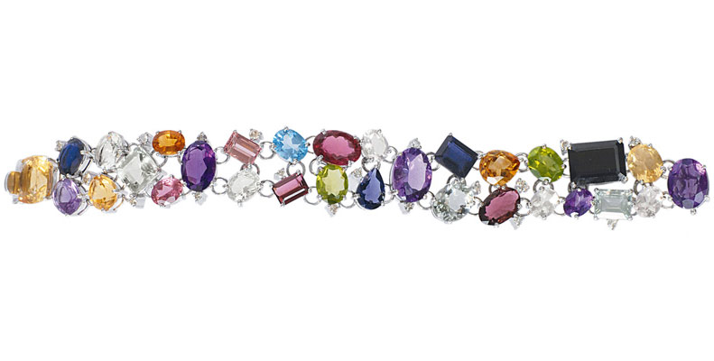 A highcarat colour stone bracelet