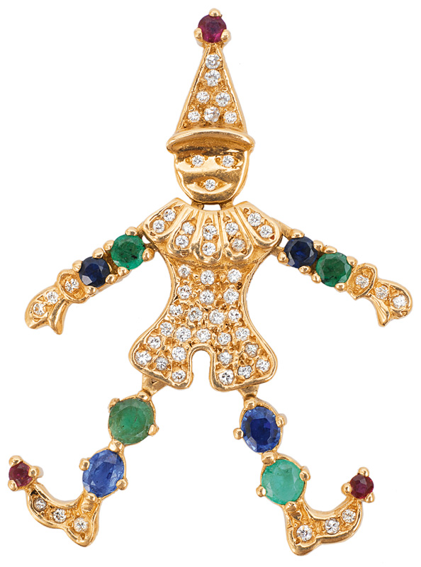 "A diamond pendant wit sapphires and emeralds ""clown"""