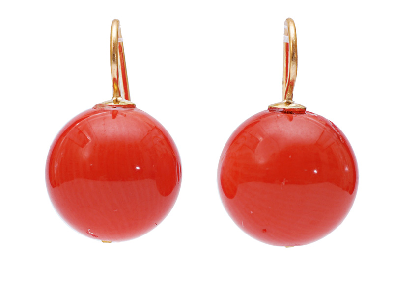 A pair of coral earrings