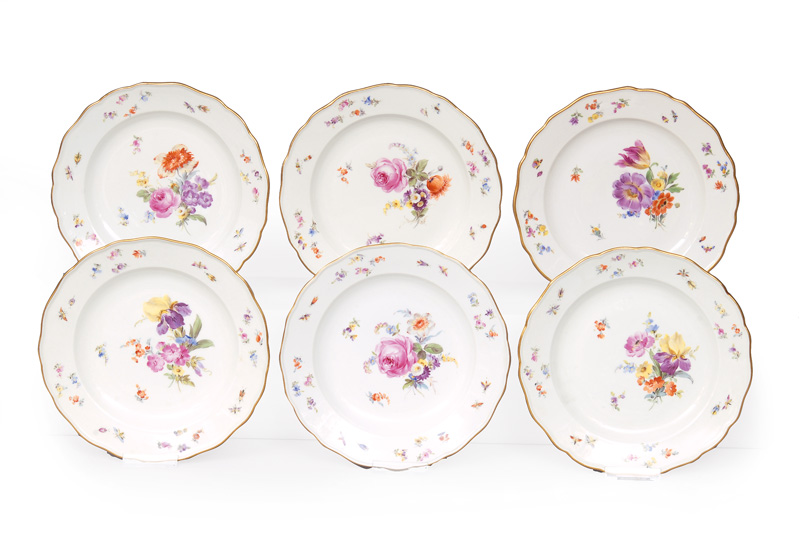 A set of 6 plates with flower painting and insects