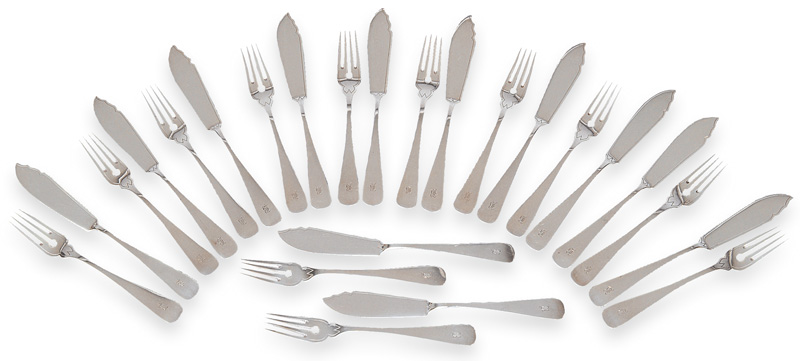 An Art Nouveau fish cutlery for 12 persons