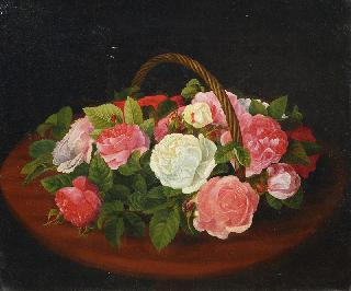Bouquet of Roses in a Basket