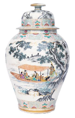 A large vase and cover with river landscape