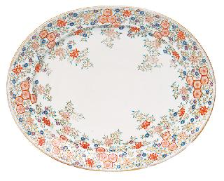 A large Arita plate with floral decoration
