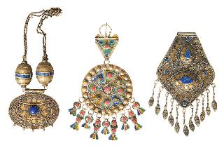 A set of 7 Afghan jewellery pieces