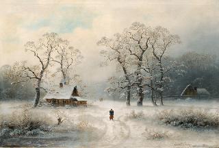 Farmyards in a winterly Forest