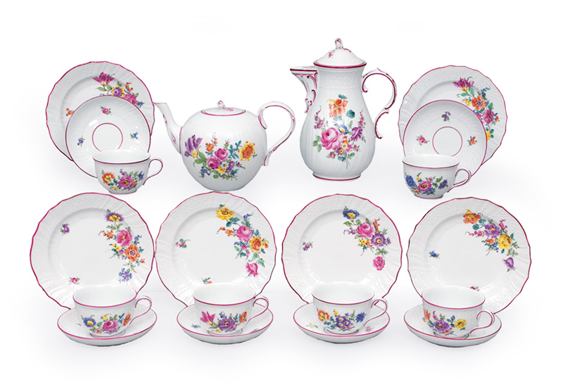 "A tea and coffee service ""Flower painting"" for 6 persons"