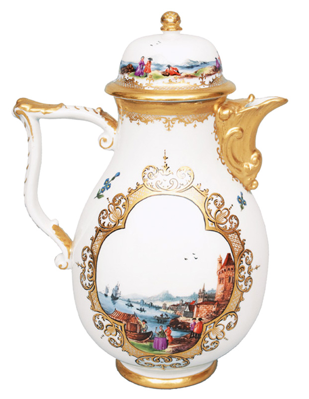 A coffee pot with fine Christian Friedrich Herold painting
