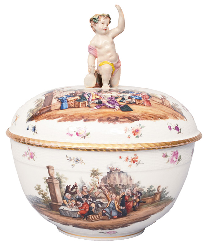 A big tureen with scenes after Wiliam Hogarth