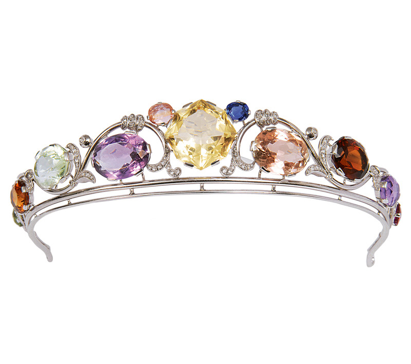 A rare Art-Nouveau tiara with precious stones and diamonds