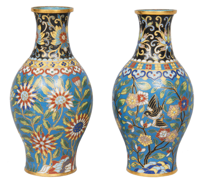 A pair of cloisonné vases with floral decoration