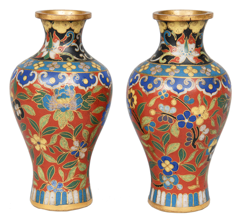 A pair of cloisonné vases with flower decoration