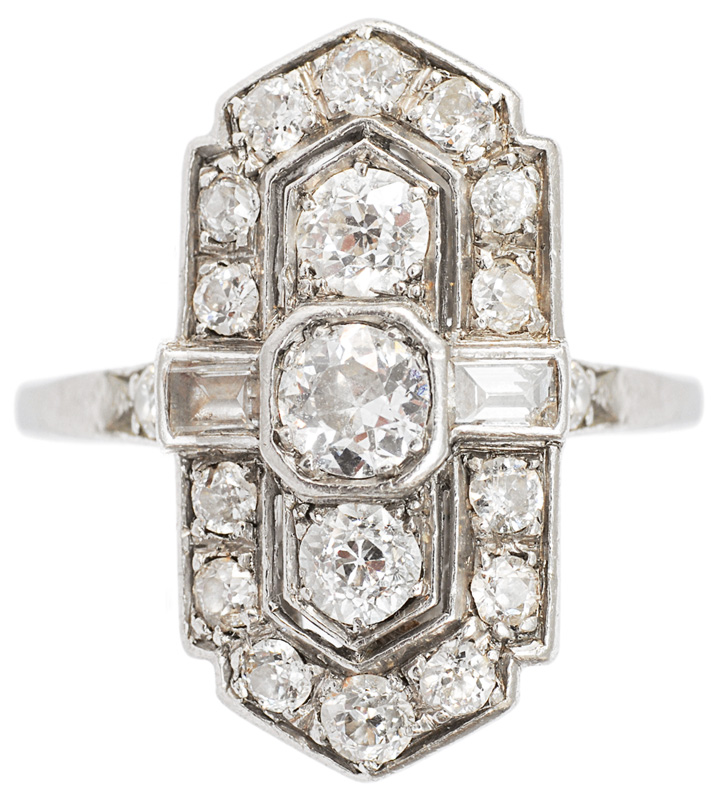 An Art-déco ring with diamonds