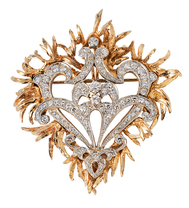 An Art-Nouveau diamond brooch