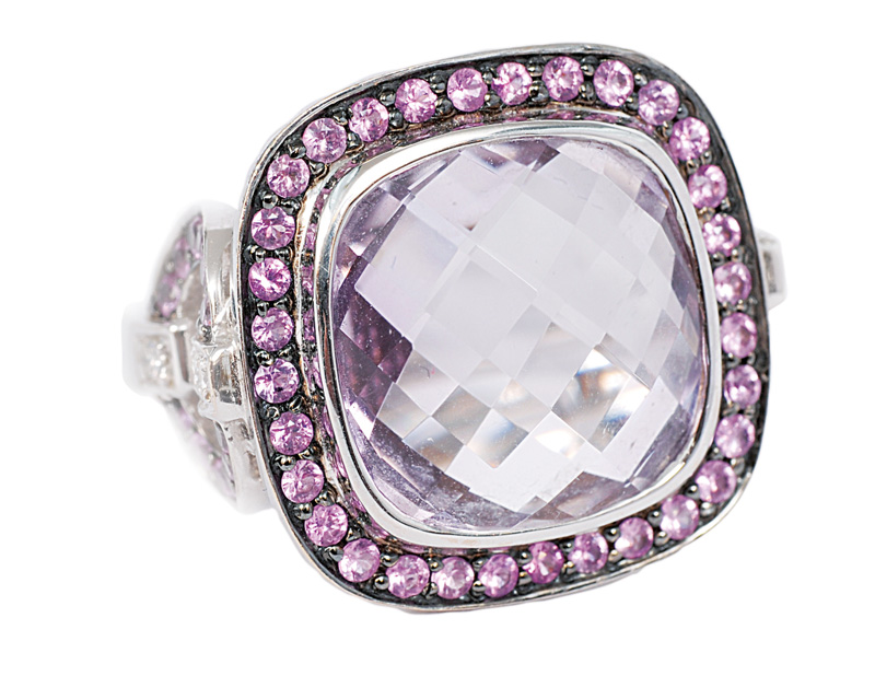 A large amethyst ring with pink sapphires