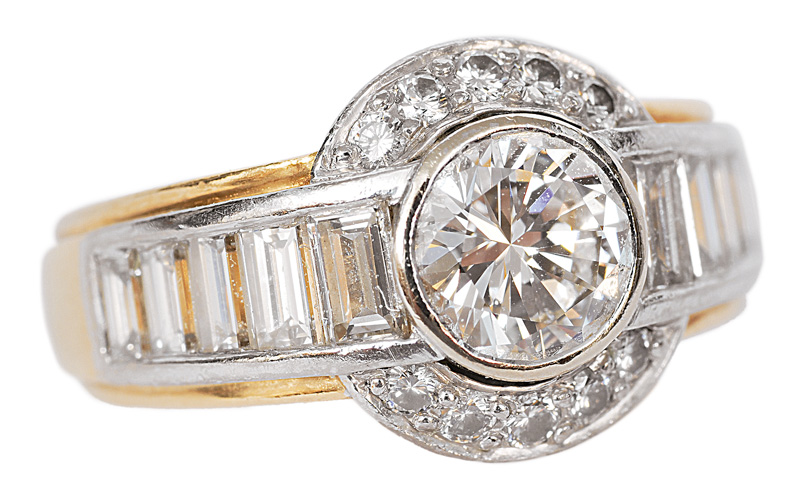 A high-quality ring with diamonds