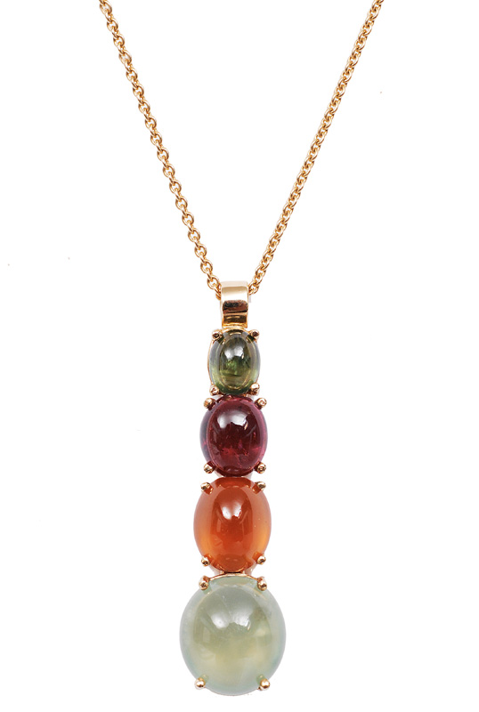 A colourful pendant with tourmaline, prehnit and garnet