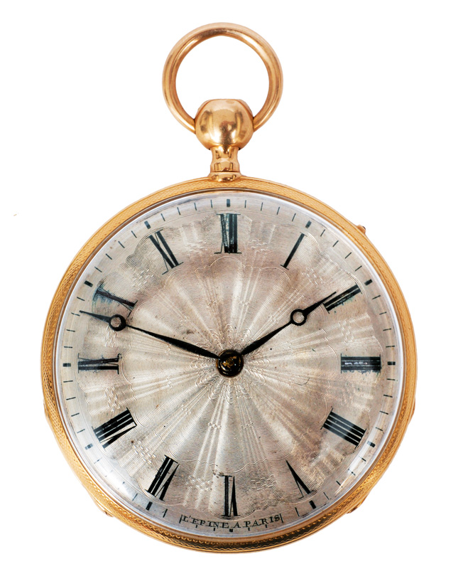 An elegant open-face pocket watch with hammer mechanism