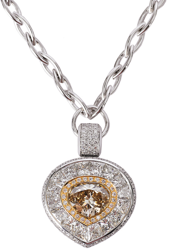 An extraordinary diamond pendant with necklace