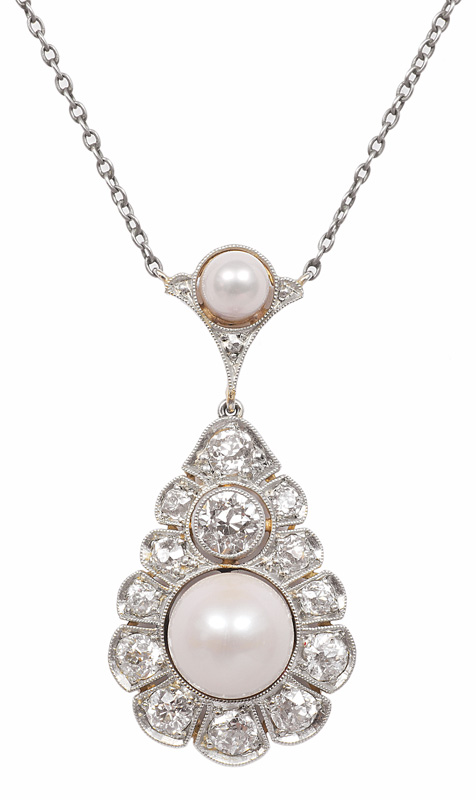 An Art-Nouveau diamond pendant with necklace