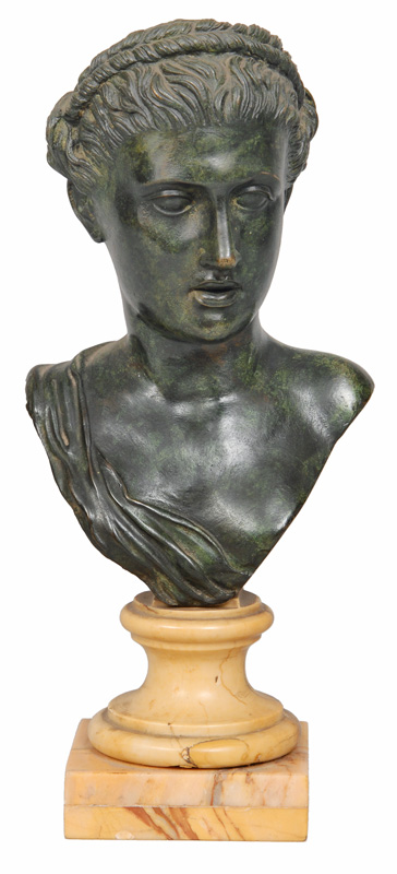 "A small classical bronze bust ""Aphrodite"""