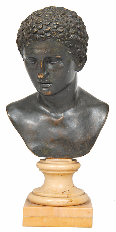 "A small classical bronze bust ""Young man"""